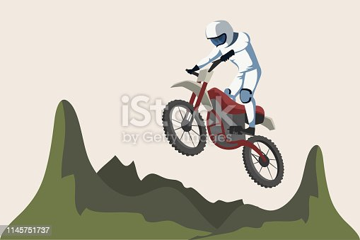Motorcycle sport flat vector illustration. Motorbike rider jumping cartoon character. Biker, motorcyclist. Cross country moto race. Enduro event, extreme activity. Motocross isolated design element
