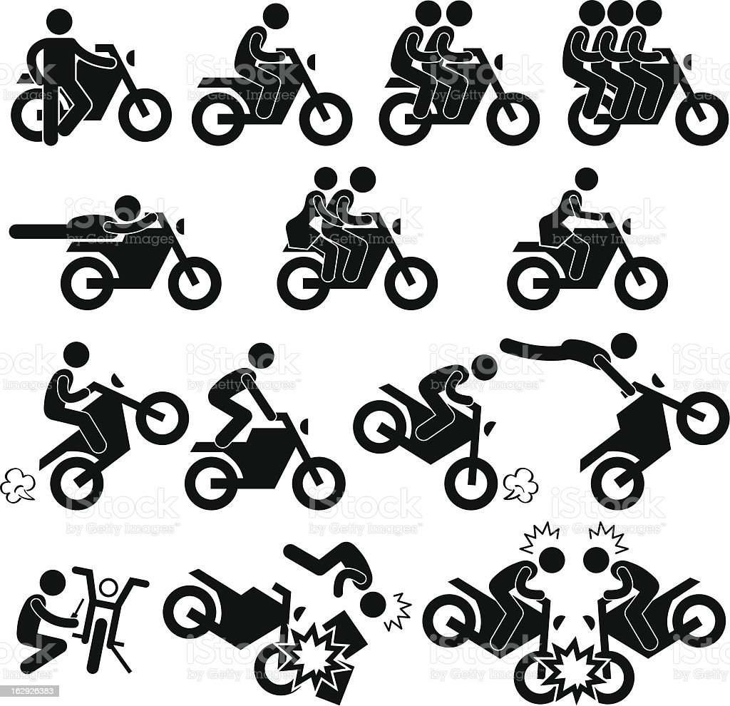 Motorcycle Stunt Daredevil Pictogram vector art illustration