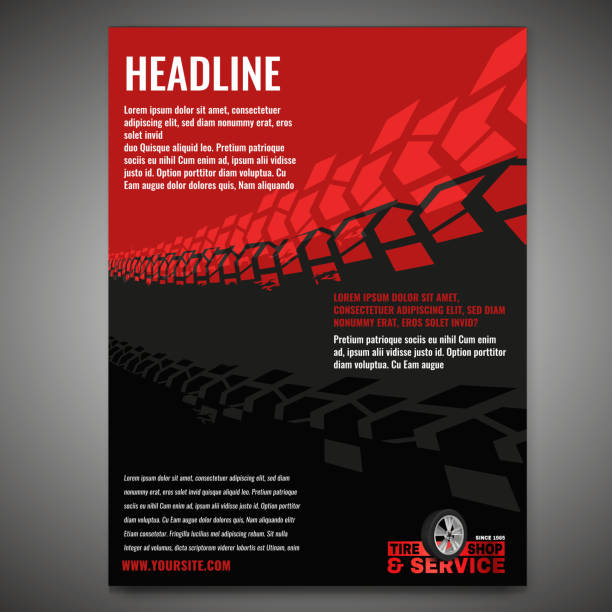 Motorcycle Tire Banners 1-08 Vector automotive banner template. Grunge tire tracks background for landscape poster, digital banner, flyer, booklet, brochure and web design. Editable graphic image in grey and red colors auto racing stock illustrations