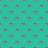 Motorcycle Transportation Seamless Pattern