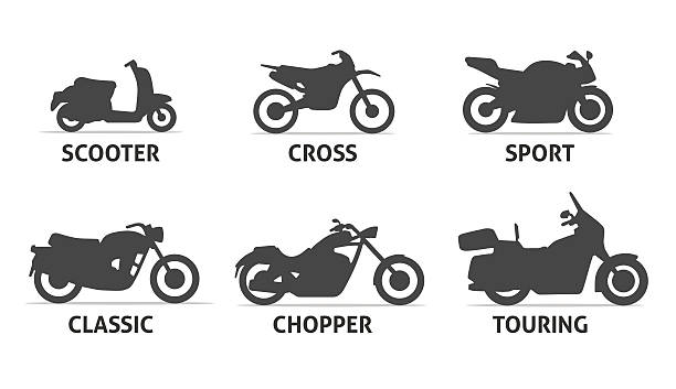 motorcycle type and model objects icons set. - sportmotorräder stock-grafiken, -clipart, -cartoons und -symbole