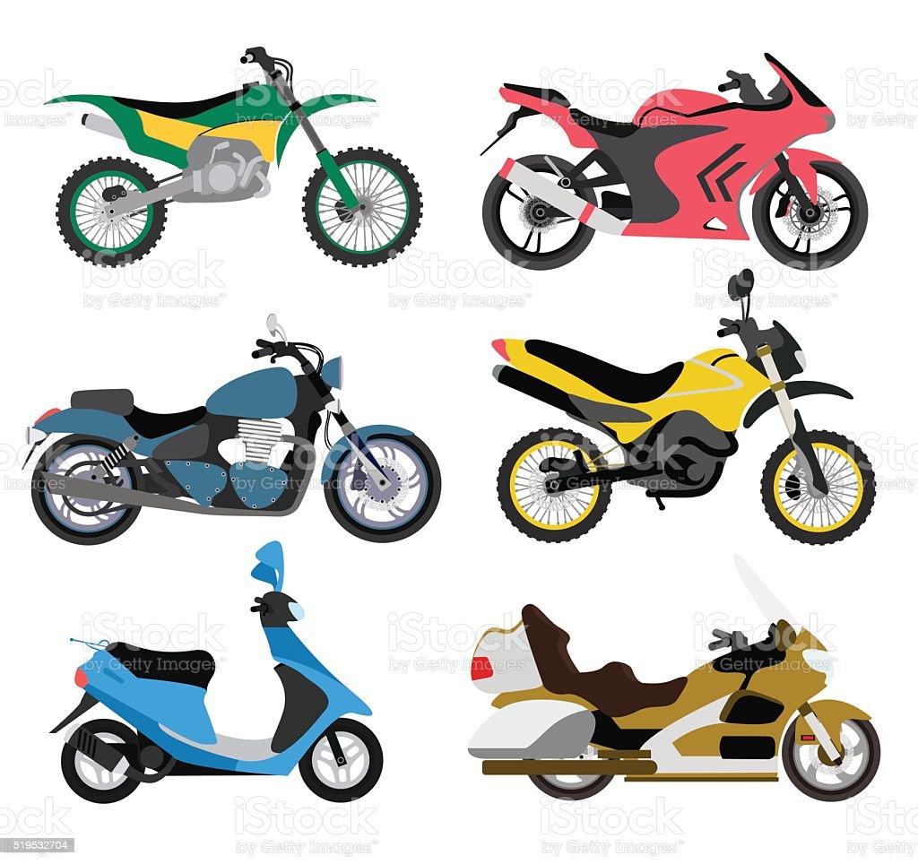Motorcycle types multicolor motorbike ride speed sport transport vector illustration vector art illustration