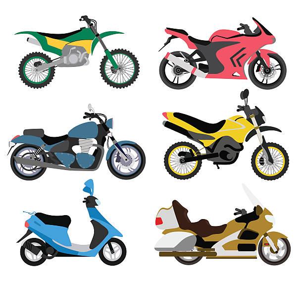 モーターサイクルタイプマルチカラーのバイク乗りスピード&スポーツトランスポートベクトルイラストレーション - オートバイ点のイラスト素材/クリップアート素材/マンガ素材/アイコン素材
