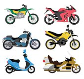 Motorcycle types multicolor motorbike ride speed sport transport vector illustration
