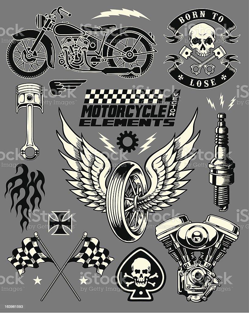 Motorcycle Vector Elements Set vector art illustration