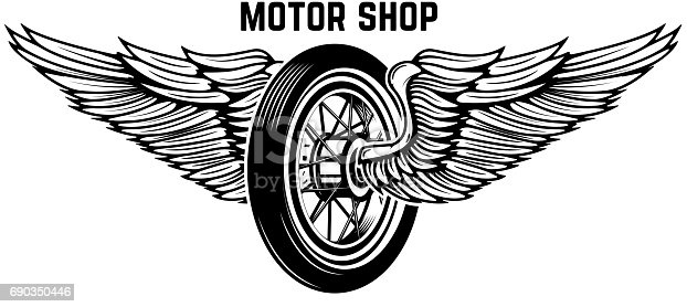 Motorcycle Wheel With Wings Isolated On White Background