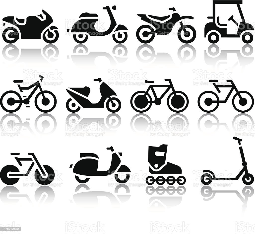 Motorcycles and bicycles set of black icons vector art illustration