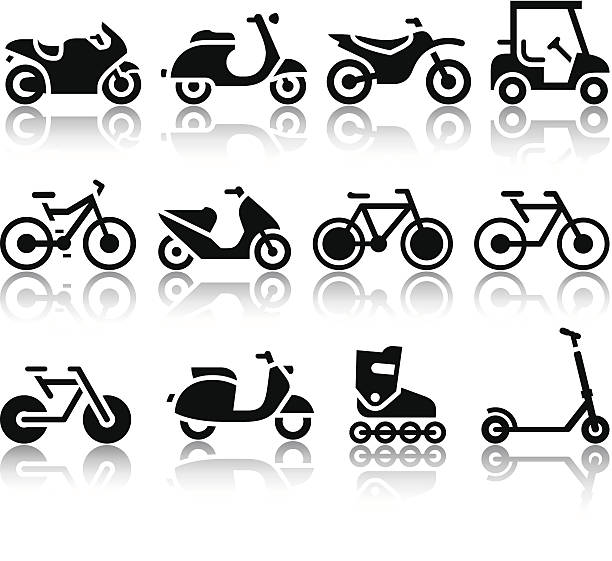 stockillustraties, clipart, cartoons en iconen met motorcycles and bicycles set of black icons - step
