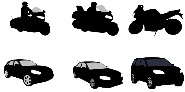 Motorcycles and car with suvs