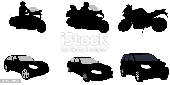 Motorcycles and a car with suvs as vectors