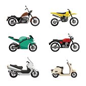 Motorcycles and scooters icons set in flat style. Vector illustrations of different type moto vehicles.