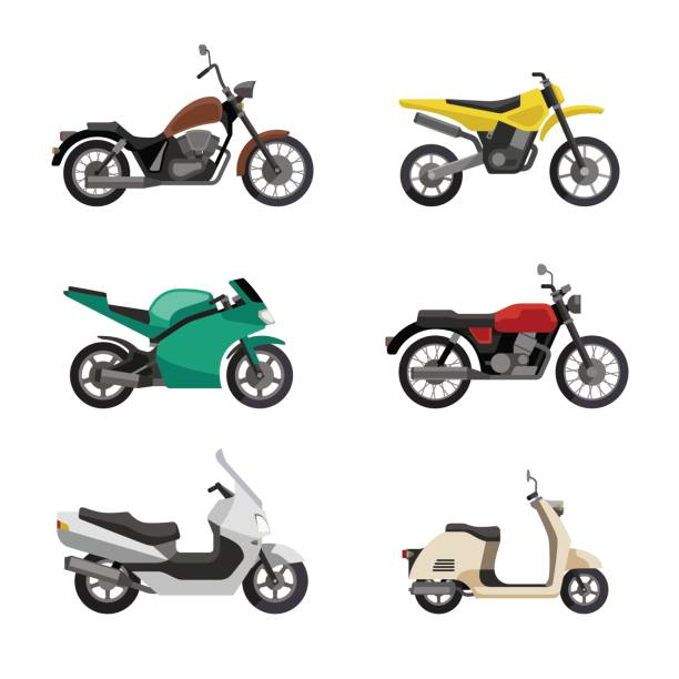 motorcycles and scooters - motorcycle stock illustrations, clip art, cartoons, & icons