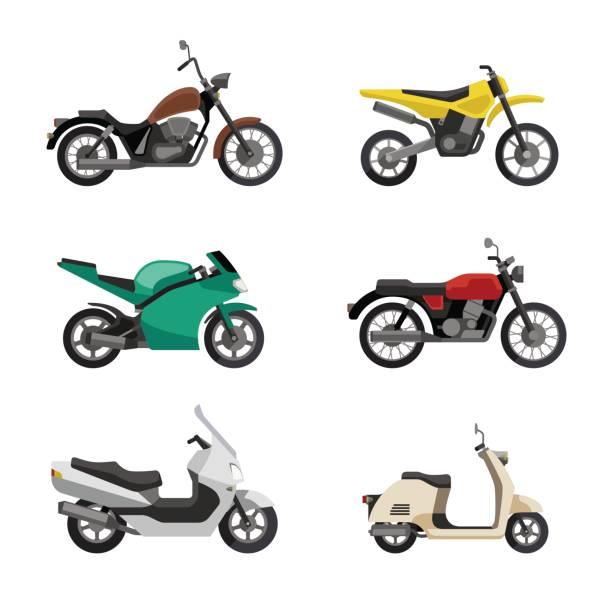 Motocicletas y scooters - ilustración de arte vectorial