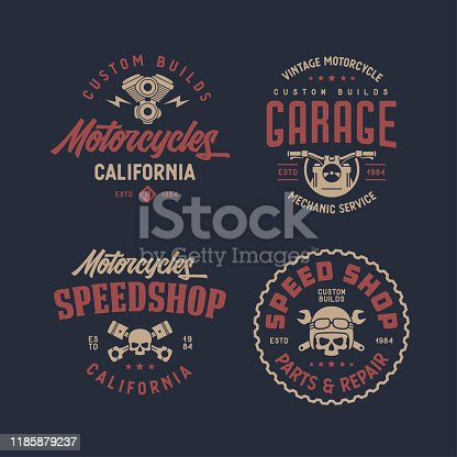 Motorcycles california t-shirt design set. Line art style motor engine skull wrench icon symbol. Vector vintage illustration.