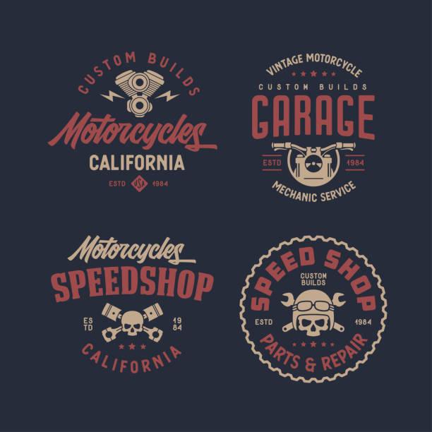 ilustrações, clipart, desenhos animados e ícones de projeto da t-shirt da califórnia das motocicletas. ilustração do vintage do vetor. - moto
