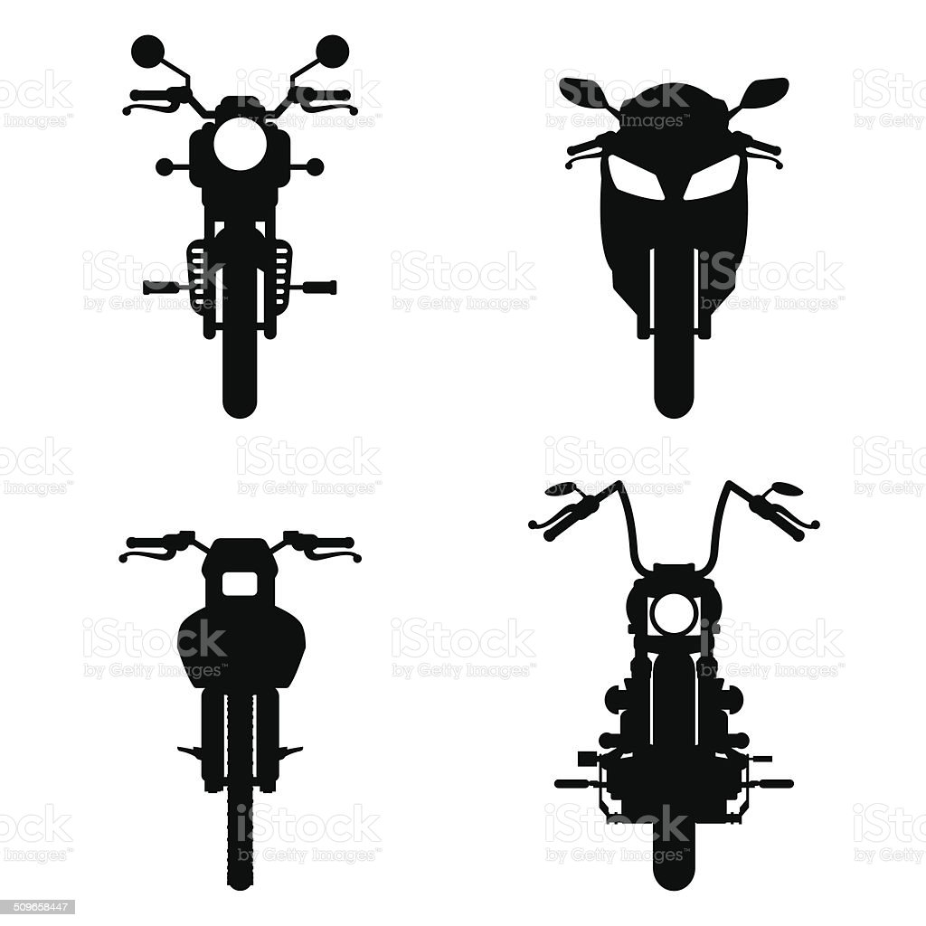 Motorcycles frontviews silhouettes vector art illustration