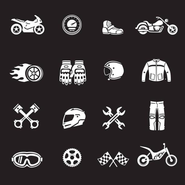 motorräder, racing symbole motosport-symbole. - funktionsjacke stock-grafiken, -clipart, -cartoons und -symbole