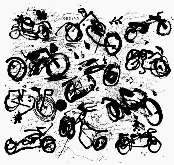 Motorcycles vector art illustration