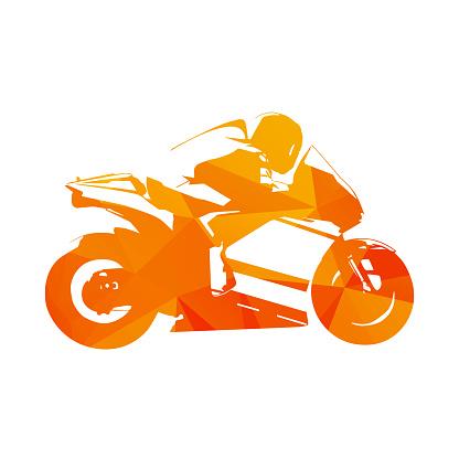 Motorcycling. Motorcycle road racing, abstract orange vector illustration. Motorbike