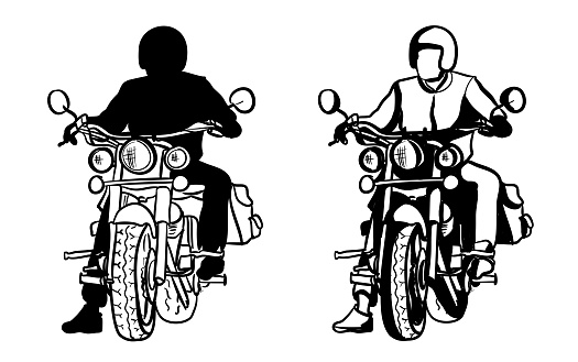 Motorcyclist At A Streetlight Silhouette