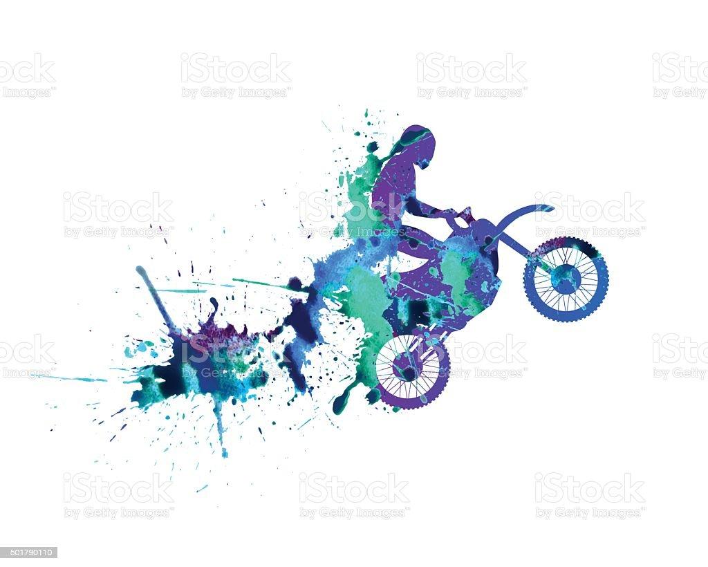 motorcyclist. Spray paint vector art illustration
