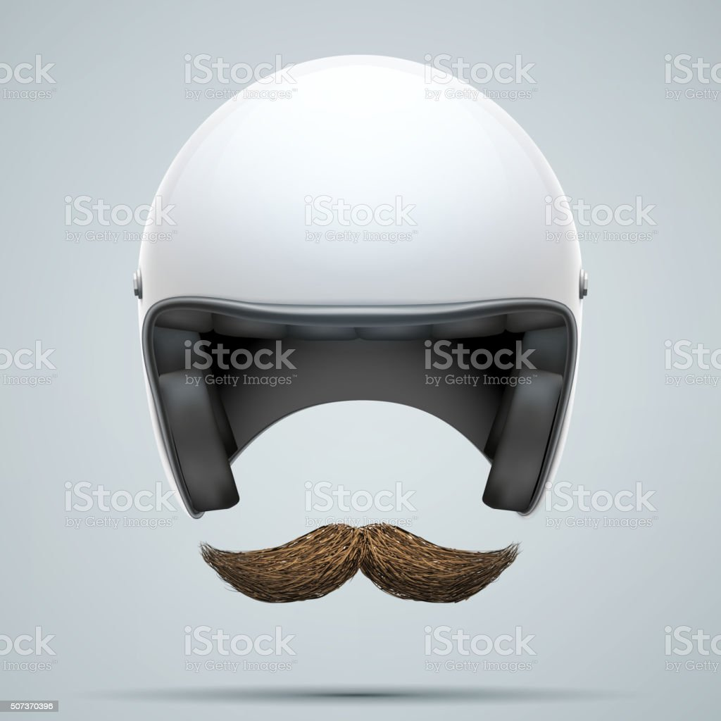 Motorcyclist symbol with mustache vector art illustration