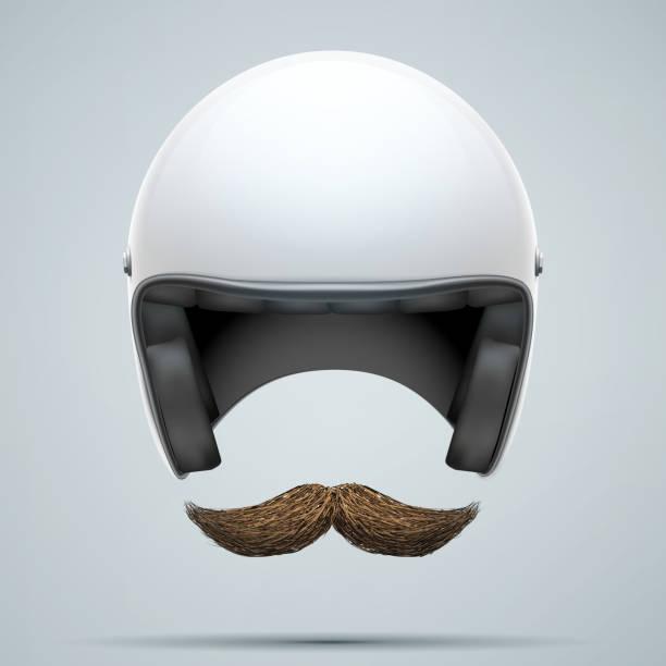 motorradfahrer symbol mit schnurrbart - sportschutzhelm stock-grafiken, -clipart, -cartoons und -symbole