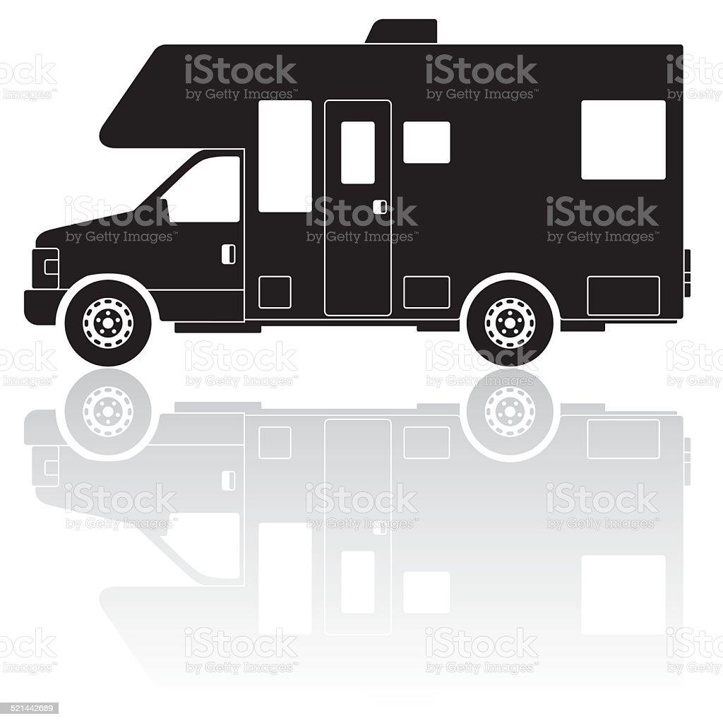 Wohnmobil Camper silhouette Vektor-Symbol - Lizenzfrei Camping Vektorgrafik