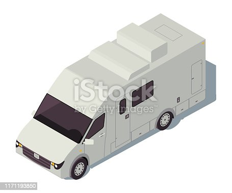 istock Motorhome isometric color vector illustration. City transport infographic. Car camper. Truck vehicle. Car travel. Voyage transportation. Automobile 3d concept isolated on white background 1171193850