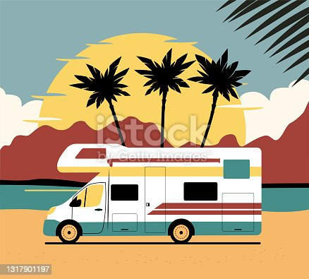 istock Motorhome on background of abstract tropical landscape. Vector flat style illustration. 1317901197