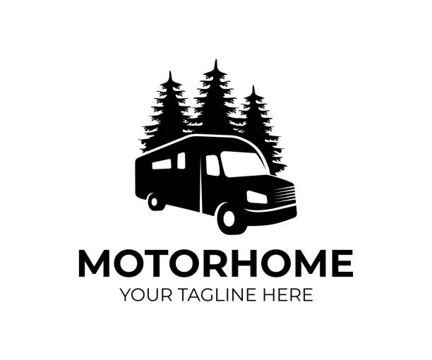 Motorhome or recreational vehicle (RV) camper car, icon template. Vacation travel or traveling, trip or adventure and caravan car, vector design. Transport, trees spruce and nature, illustration Motorhome or recreational vehicle (RV) camper car, icon template. Vacation travel or traveling, trip or adventure and caravan car, vector design. Transport, trees spruce and nature, illustration motor home stock illustrations