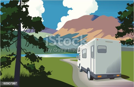 Mountain landscape with lake and motorhome
