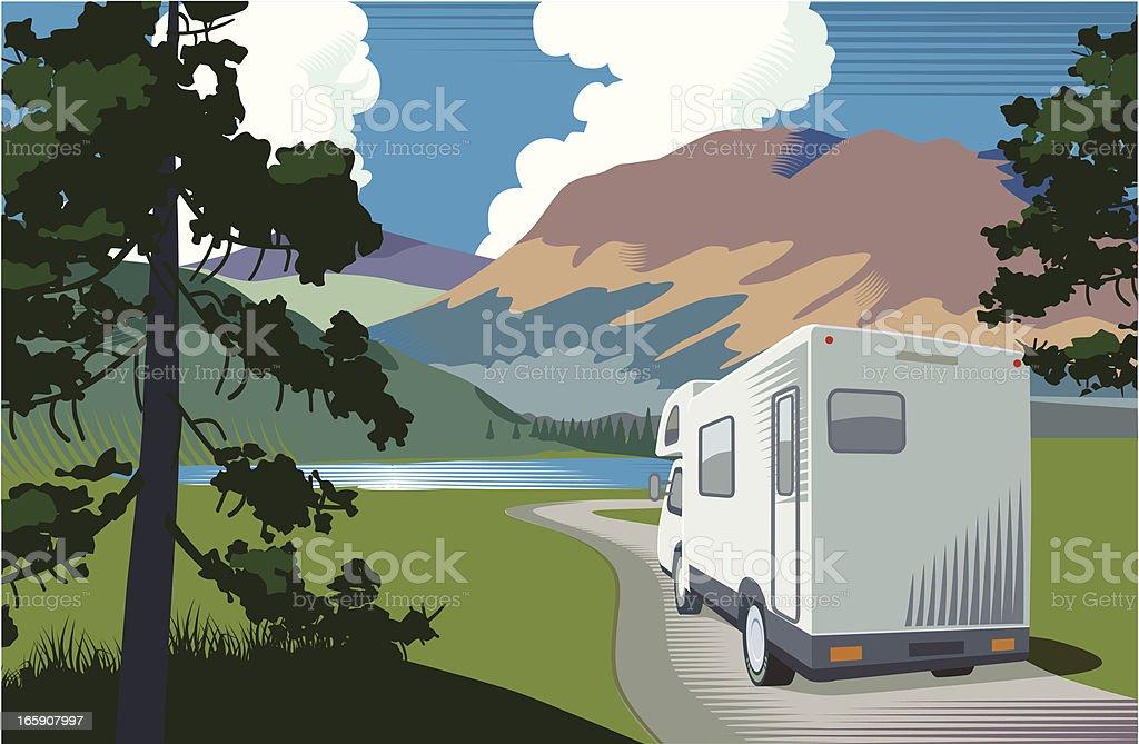 Motorhome vacation vector art illustration