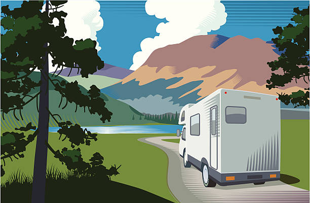 Motorhome vacation Mountain landscape with lake and motorhome motor home stock illustrations