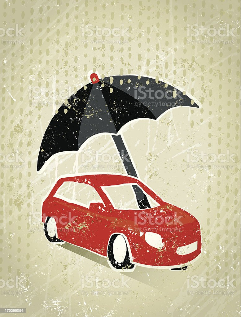 Motoring Insurance Giant Umbrella Protecting A Car From Rain vector art illustration
