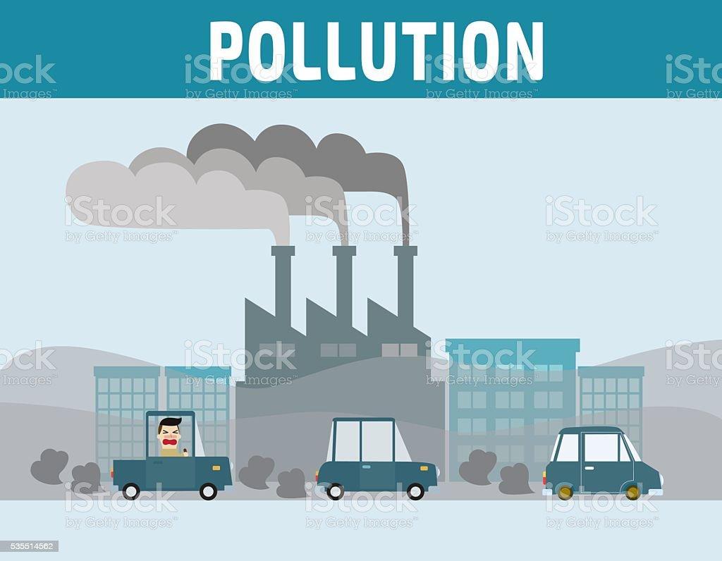 運転手 の都市で大気汚染 イラストレーションのベクターアート素材や