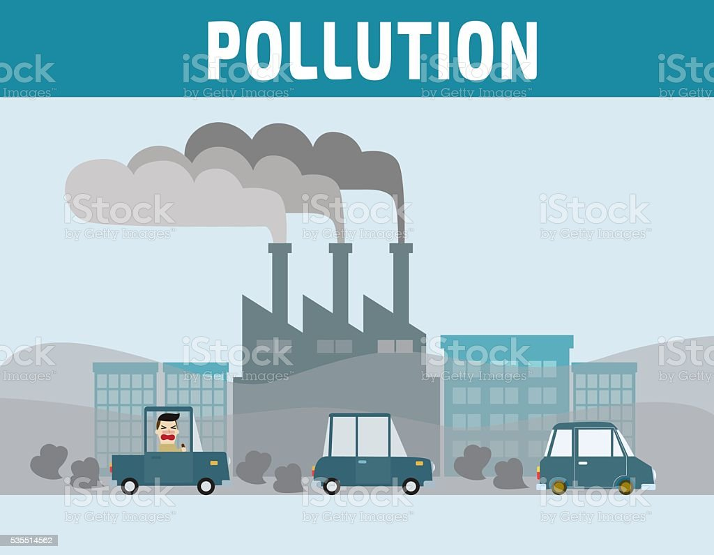 Motorist in cities with air pollution. vector art illustration