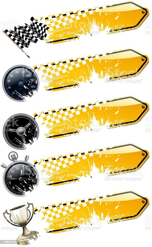 motorized sport banners vector art illustration