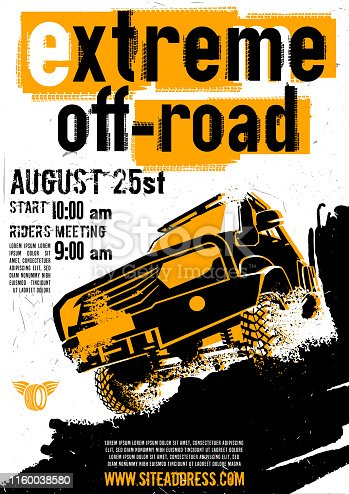 Motorsport event poster. Extreme off-road adventure. Grunge style. Vertical vector illustration with unique lettering in white, yellow and black colors useful for advert, print, flayer design.