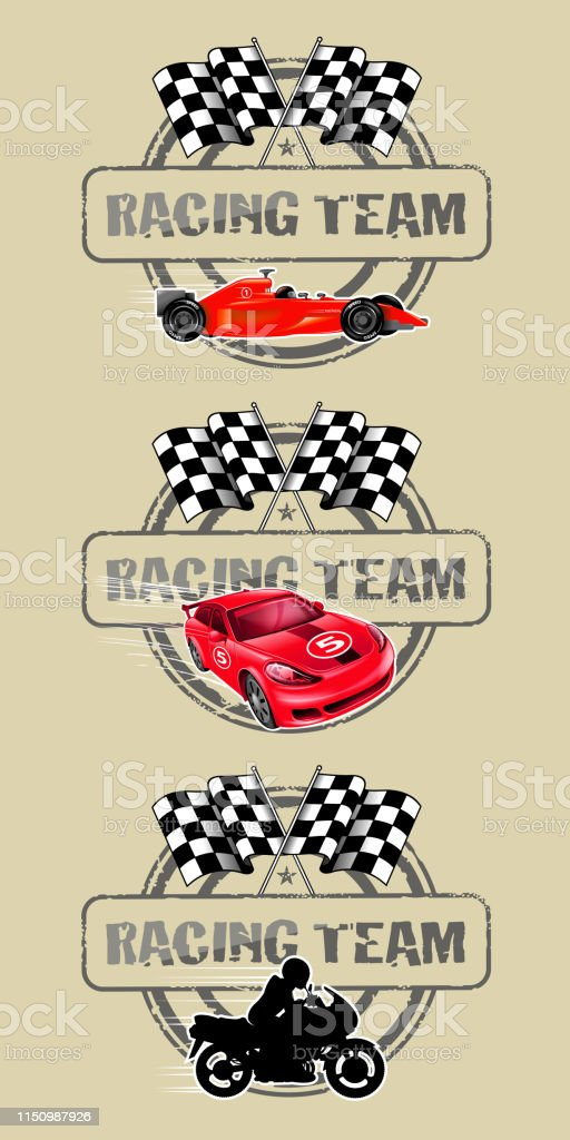 drawing of vector sports race labels. Created by illustrator cs6....