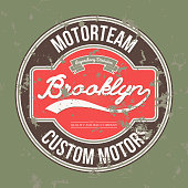 Motorteam Brooklyn. T-shirt graphic. Vector
