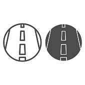 Motorway line and solid icon, transportation symbol, Highway road vector sign on white background, freeway icon in outline style for mobile concept and web design. Vector graphics