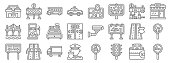 motorway line icons. linear set. quality vector line set such as smoking area, traffic light, policeman, road, highway, cashier machine, market, gps, barrier