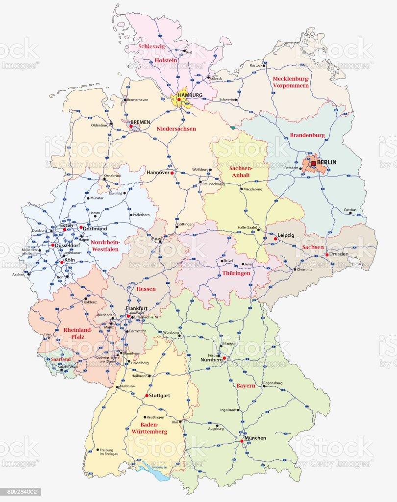 Mapa da auto-estrada da Alemanha - ilustração de arte em vetor