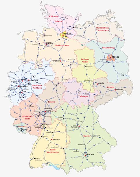 Mapa de la autopista de Alemania - ilustración de arte vectorial
