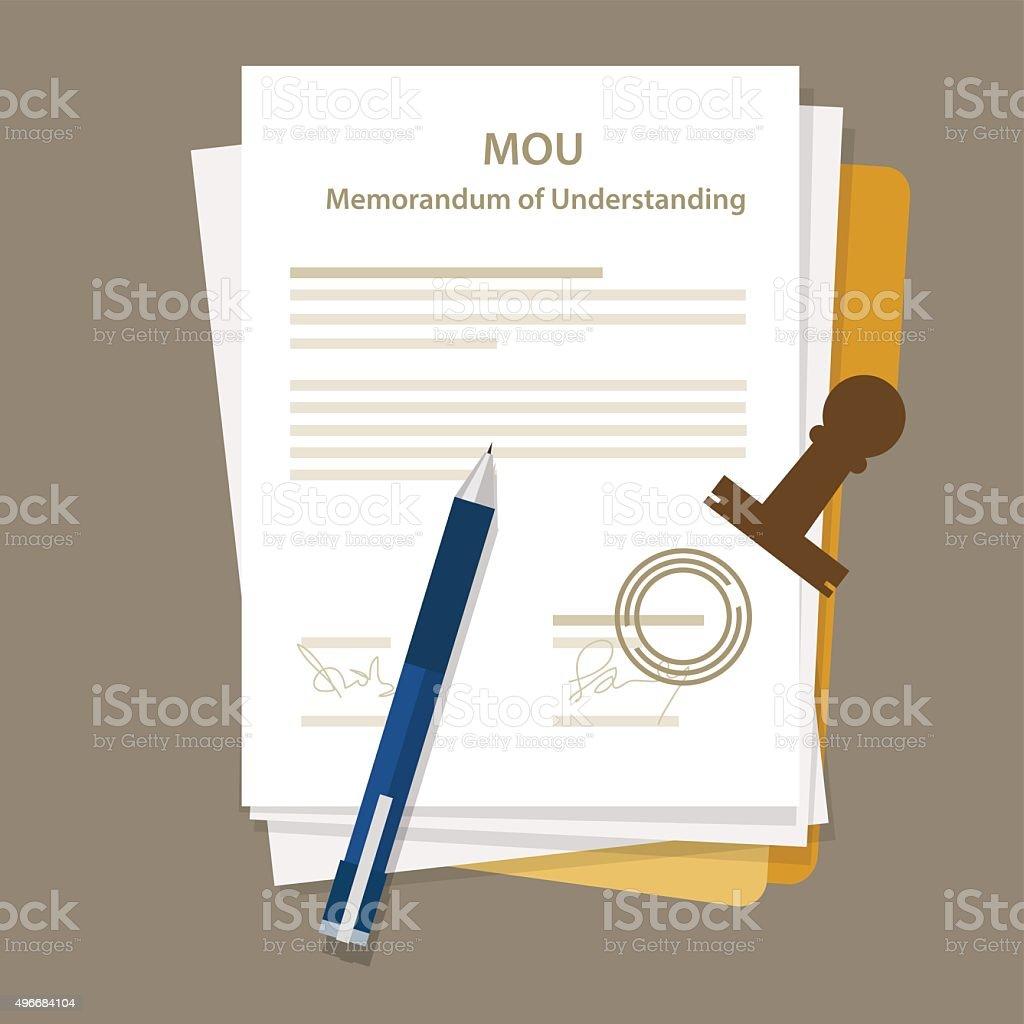 mou memorandum of understanding legal document agreement stamp vector art illustration