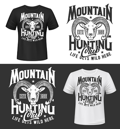 Mouflon sheep hunting club t-shirt print mockup