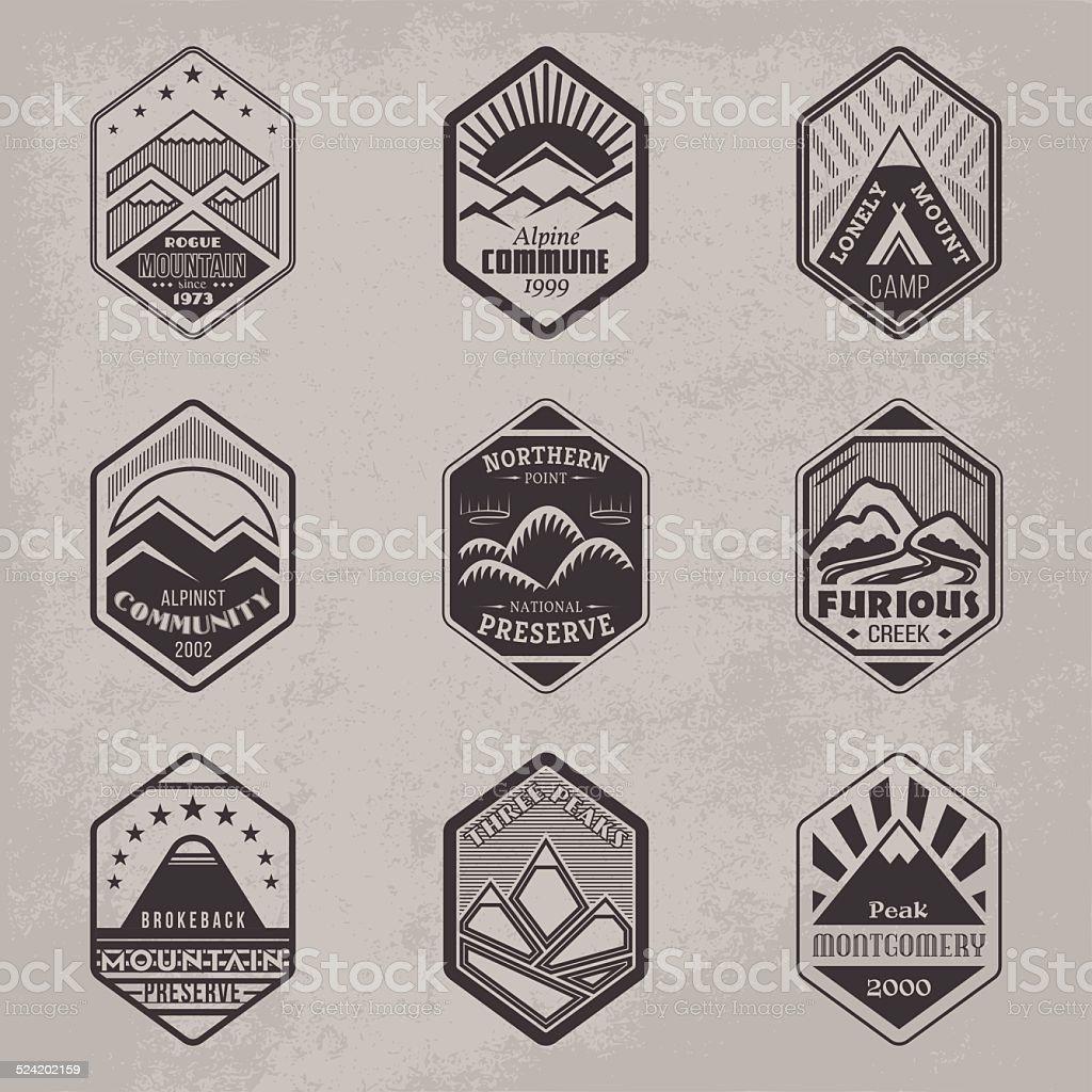 Mount badge set1 vector art illustration