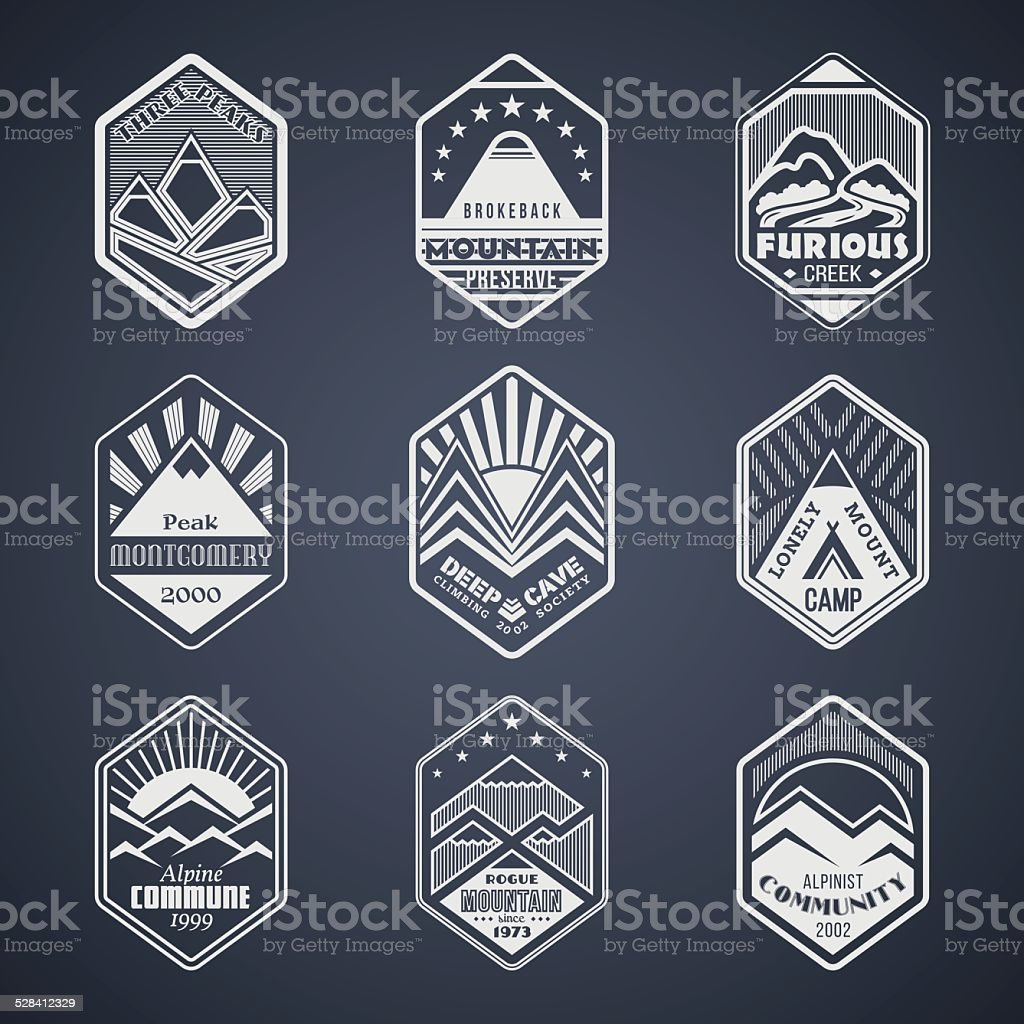 Mount badge set1white vector art illustration