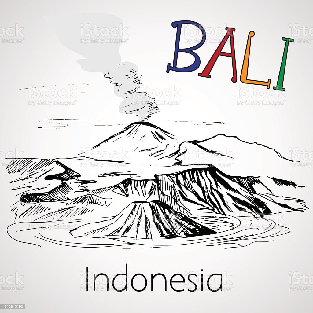 Mount Batur - Bali, Indonesia vector art illustration